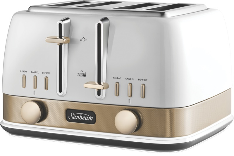 Sunbeam New York 4 Slice Toaster - White Gold TA4440WG