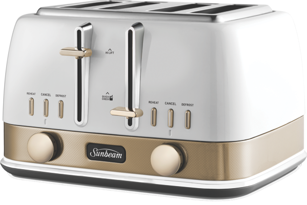 NEW YORK 4 SLICE TOASTER - WHITE GOLD