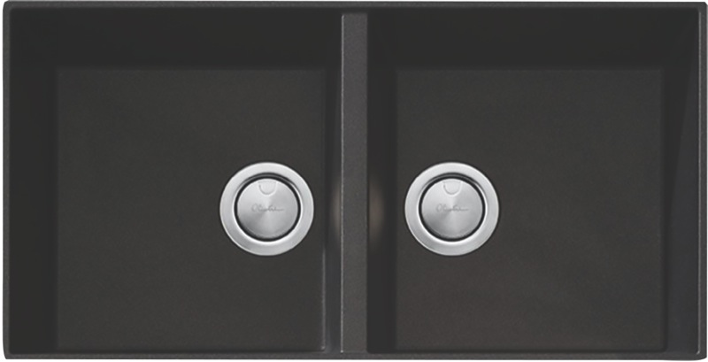 Oliveri Santorini Double Bowl Undermount Sink - Black STBL1563U