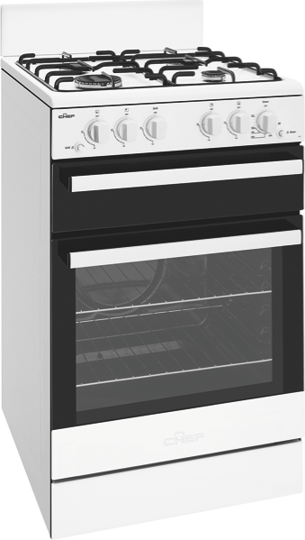 Chef 54cm Freestanding Gas Cooker - White CFG503WBNG