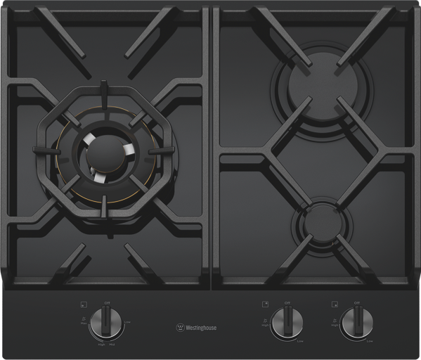 60CM GAS COOKTOP – BLACK