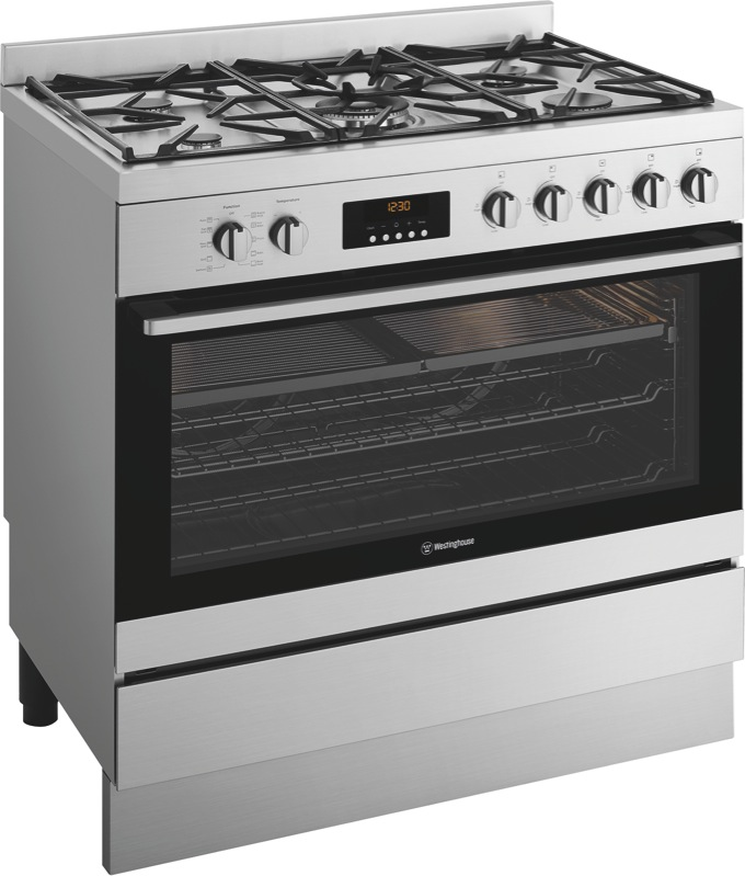 Westinghouse 90cm Dual Fuel Freestanding Cooker - Stainless Steel WFEP915SC