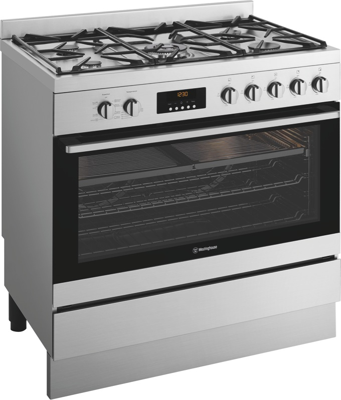 Westinghouse 90cm Dual Fuel Freestanding Cooker - Stainless Steel WFE914SC