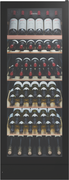 Vintec 148 Bottle Multi Zone Wine Cellar - Black Glass VWM148SBAR