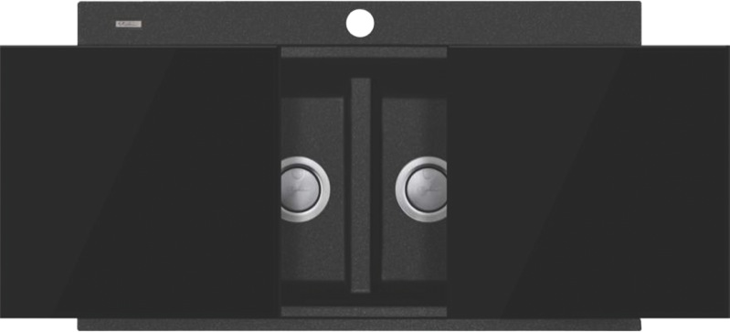 Oliveri Santorini Double Bowl Topmount Sink - Black STBL1566GT