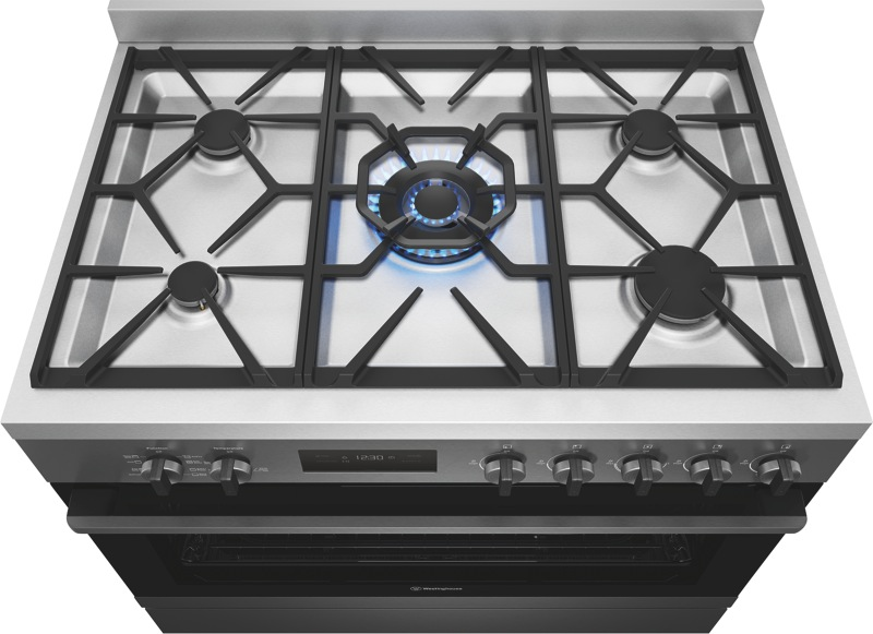 Westinghouse 90cm Freestanding Dual Fuel Cooker - Dark Stainless Steel WFE916DSD