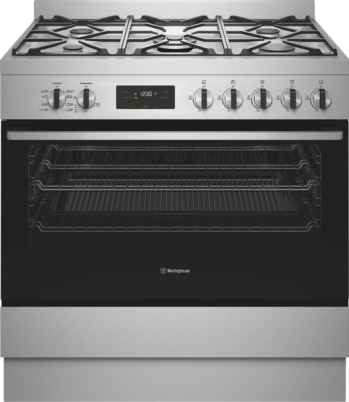 Westinghouse 90cm Freestanding Dual Fuel Cooker - Stainless Steel WFE915SD