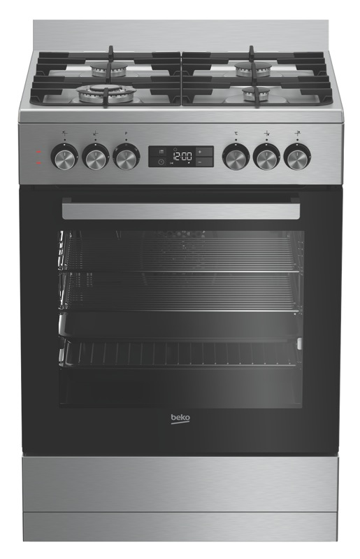 Beko 60cm Freestanding Dual Fuel Cooker - Stainless Steel BFC60GMX